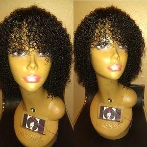 100% Bohemian short bob curly human hair wig